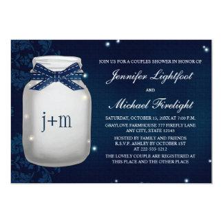 Navy Monogrammed Firefly Mason Jar Couples Shower 5x7 Paper Invitation Card
