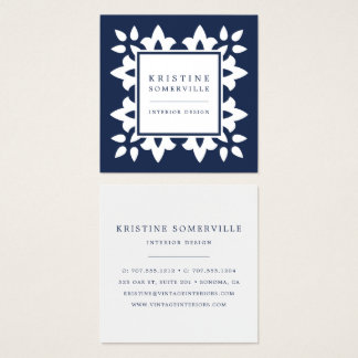 Navy | Moroccan Geometric Square Square Business Card