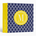 Navy Moroccan Tiles Lattice Personalized 3 Ring Binder