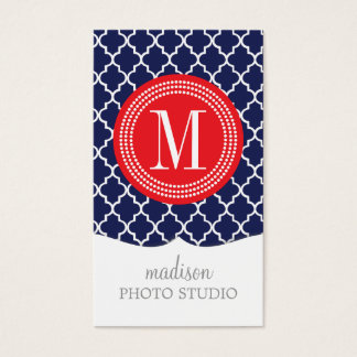 Navy Moroccan Tiles Lattice Personalized Business Card