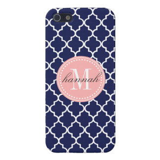 Navy Moroccan Tiles Lattice Personalized Case For iPhone SE/5/5s
