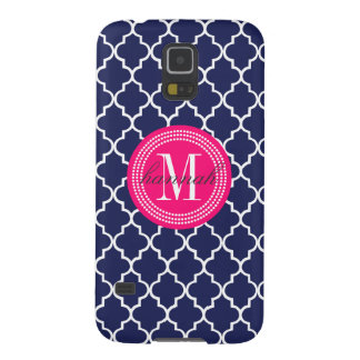 Navy Moroccan Tiles Lattice Personalized Galaxy S5 Case