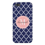 Navy Moroccan Tiles Lattice Personalized iPhone 5/5S Cover