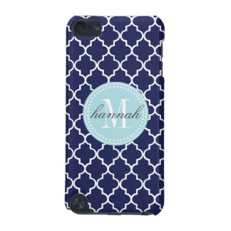 Navy Moroccan Tiles Lattice Personalized iPod Touch 5G Cover