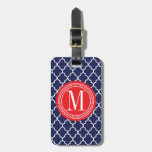 Navy Moroccan Tiles Lattice Personalized Luggage Tags