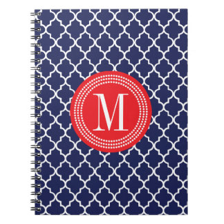 Navy Moroccan Tiles Lattice Personalized Spiral Notebooks