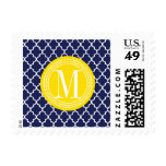 Navy Moroccan Tiles Lattice Personalized Postage Stamp