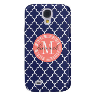 Navy Moroccan Tiles Lattice Personalized Samsung Galaxy S4 Case