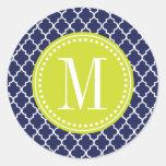 Navy Moroccan Tiles Lattice Personalized Classic Round Sticker