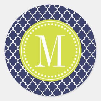 Navy Moroccan Tiles Lattice Personalized Sticker