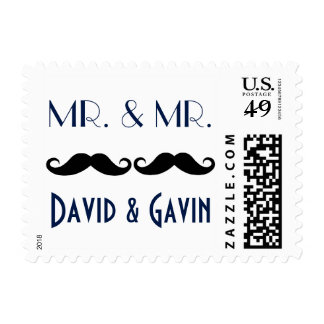 Navy MR. and MR. Mustache Gay Wedding Postage