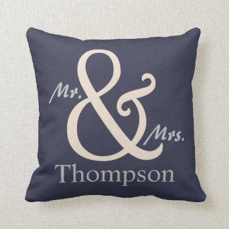 Navy Mr. and Mrs. Couple's Throw Pillow