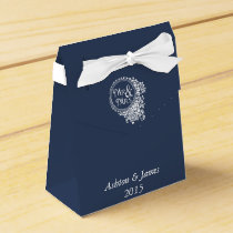 Navy Mr & Mrs Personalized Wedding Favor Box