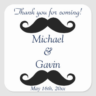 Navy Mustache Thank You For Coming! Gay Wedding Square Sticker