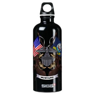 Navy Mustang Aluminum Water Bottle
