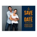 NAVY & MUSTARD NAUTICAL SAVE THE DATE POSTCARD