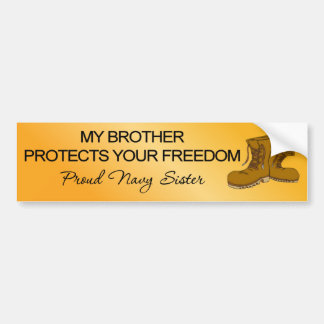 (Navy) My Brother Protects Your Freedom Bumper Sticker
