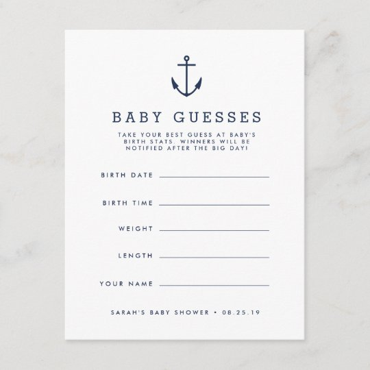 Navy Nautical Anchor Baby Shower Guessing Game Zazzlecom