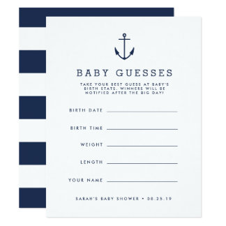 Navy Nautical Anchor Baby Shower Guessing Game Card