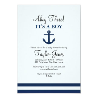 Navy Nautical Anchor Baby Shower Invitation