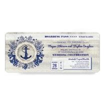 Navy Nautical Anchor Boarding Pass Wedding Ticket Card