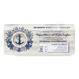 Navy Nautical Anchor Boarding Pass Wedding Ticket Card