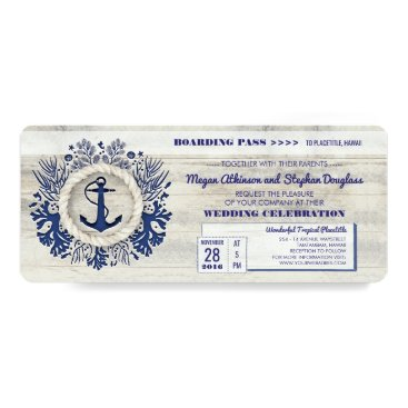 jinaiji Navy Nautical Anchor Boarding Pass Wedding Ticket Card