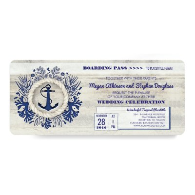boarding pass nautical airmail ticket invitation zazzle com