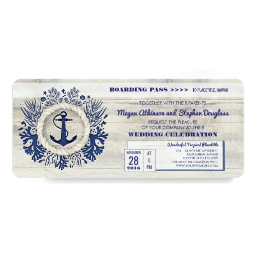 Navy Nautical Anchor Boarding Pass Wedding Ticket Invitation