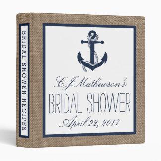 Navy Nautical Anchor Burlap Bridal Shower Recipe 3 Ring Binder