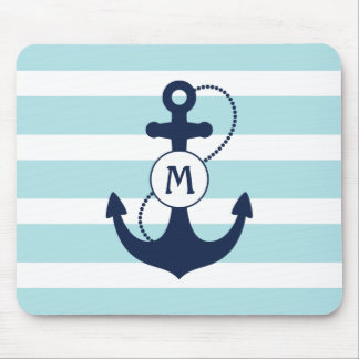 Navy Nautical Anchor Mouse Pad