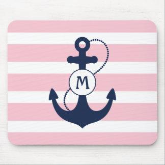 Navy Nautical Anchor Mousepad