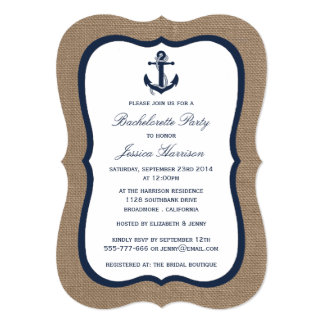 Navy Nautical Anchor On Burlap Bachelorette Party Card