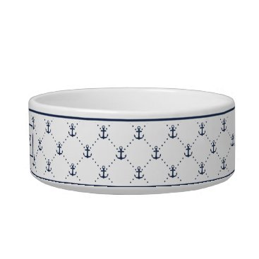 Beach Themed Navy Nautical Anchor Pattern Personalized Bowl