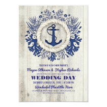 Navy Nautical Anchor Rustic Beach Wedding Card