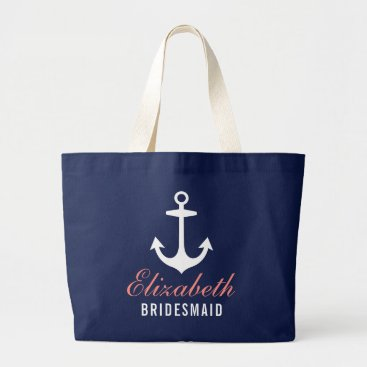 Beach Themed Navy Nautical Anchor | Wedding Bridal Party Large Tote Bag