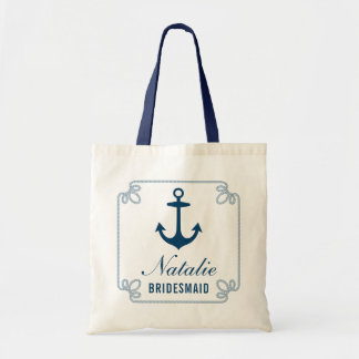 Navy Nautical Anchor | Wedding Bridal Party Tote Bag