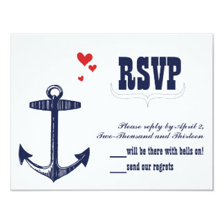 Navy Nautical Anchor with a Touch of Red Wedding 4.25x5.5 Paper Invitation Card