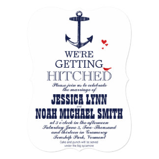 Navy Nautical Anchor with a Touch of Red Wedding 5x7 Paper Invitation Card