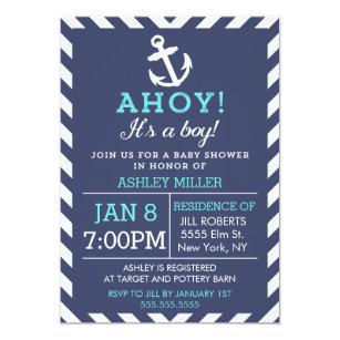 Zig zag invitations announcements zazzle navy nautical chevron baby shower invitation stopboris Choice Image