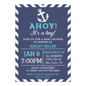 Toddler & Baby themed Navy Nautical Chevron Baby Shower Invitation