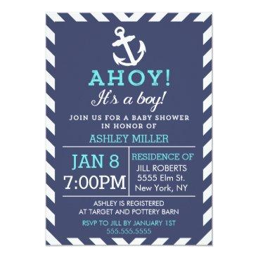 cardeddesigns Navy Nautical Chevron Baby Shower Invitation