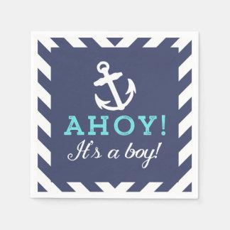 Navy Nautical Chevron Baby Shower Napkins