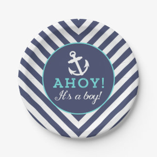 Navy Nautical Chevron Baby Shower Paper Plates