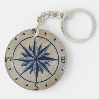 Navy Nautical Compass North south East West Marble Keychain