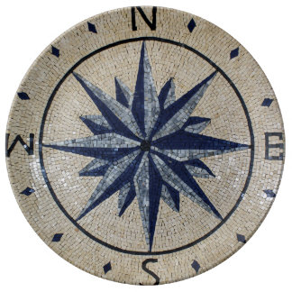 Navy Nautical Compass North south East West Marble Porcelain Plate