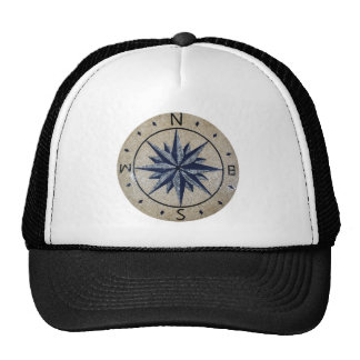 Navy Nautical Compass North south East West Marble Trucker Hat