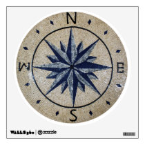 Navy Nautical Compass North south East West Marble Wall Sticker
