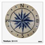 Navy Nautical Compass North south East West Marble Wall Stickers