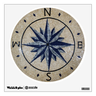 Navy Nautical Compass North south East West Marble Room Decals